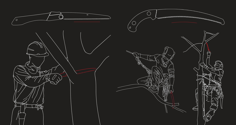 sawing above shoulder below knee FR